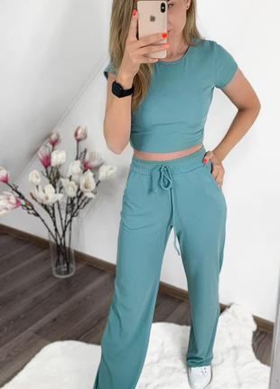 Женский костюм штаны+топ. костюм рубчик