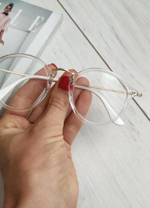 Имиджевые очки, прозрачная оправа, миндалевидные