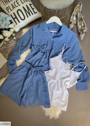 Женский костюм тройка (майка шорты и рубашка)