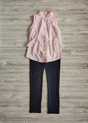Красивый комплект: нежно розовая блузка gloria jean's и синие скины для девочки 9-11 лет