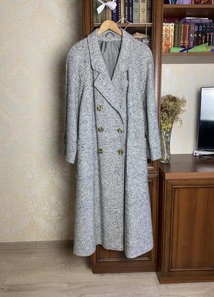Шикарное винтажное двубортное пальто, длины миди из шерсти creation kärner