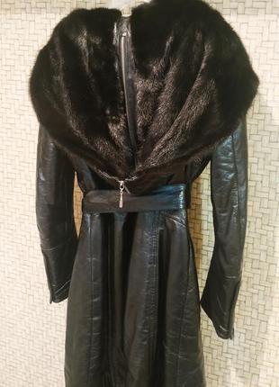 Кожаное пальто, куртка с капюшоном из меха норки