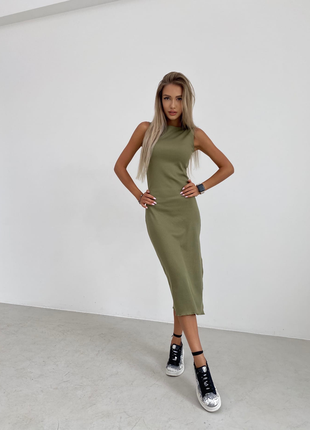 Миди платье в рубчик оливка беж шоколад