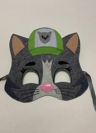 Карнавальная маска из фетра серый кот рокки щенячий патруль