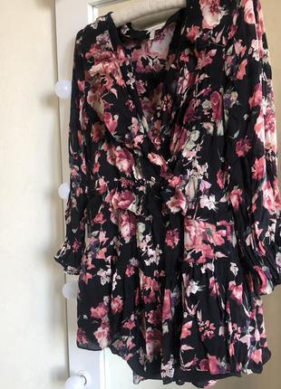 Цветочное шёлковое платье joie