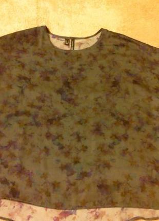 Блуза серая с цветными разводами