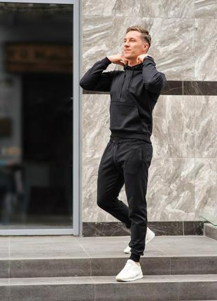 Черный мужской спортивный костюм трикотажный, хлопковый спортивный костюм хб весна-осень