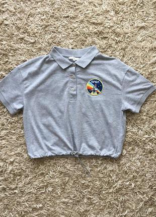 Серая футболка майка тенниска поло топ nasa clockhouse оригинал