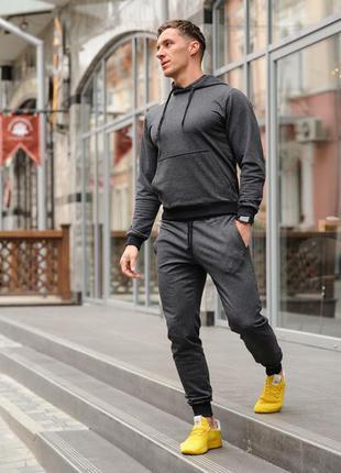 Темно-серый мужской спортивный костюм трикотажный, хлопковый спортивный костюм хб