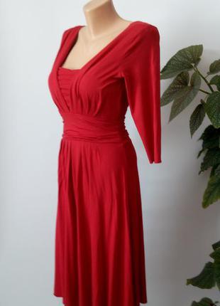 Красное платье миди бюстье 46 размер новое натуральная ткань