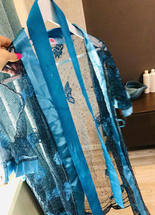 Халат прозрачный, сеточка, очень красивый бирюзовый цвет s/м m/l