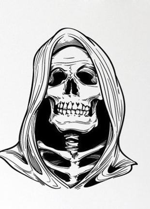 Интерьерная наклейка смерть мрачный жнец скелет хэллоуин + подарок