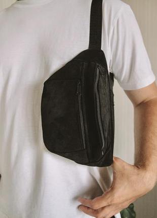 Большая бананка кожа сумка на пояс из натуральной черной замши слинг шкіра б16