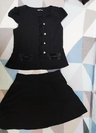 Школьный костюм юбка+жилетка школьная форма