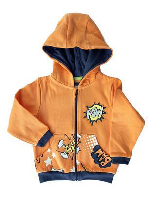 Худи / толстовка оранжевая начес, мальчику 86-92, 98-104 см