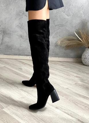 Черные замшевые высокие сапоги ботфорты зимние и осенние