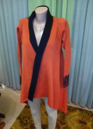 Шикарный, теплый кардиган-пальто dilvin с кружевом