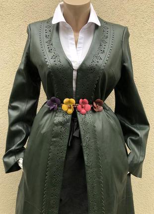 Винтаж,кожа100% ,пальто с перфорацией,плащ,тренч,centigrade.