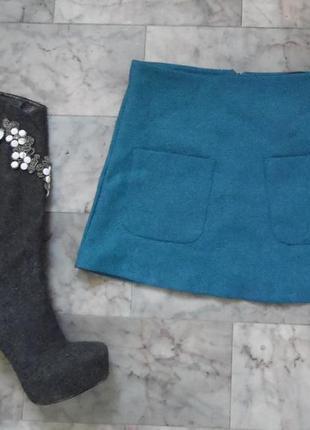 Теплая юбка трапеция с кармашками atm