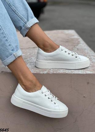 Кроссовки белые кожа