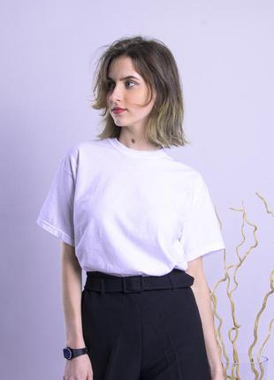 Базовая белая футболка, женская белая футболка, жіноча біла футболка однотонна