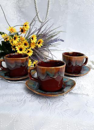 Кофейные пары ссср чашки с блюдцами керамические глазурь горький шоколад индиго глина фаянс ссср советский винтаж лот