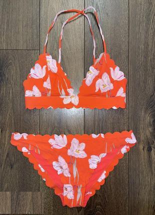 """Стильный гладкий яркий коралловый оранж терракот в цветы ирисы бесшовный купальник""""h&m"""",s"""