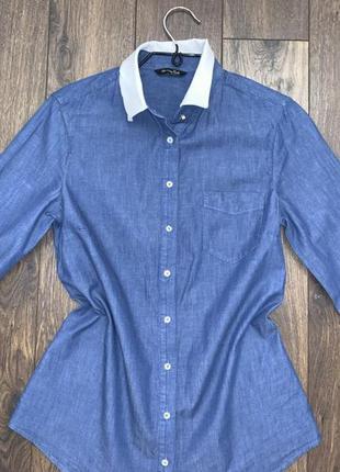 Тончайшая хлопковая под джинс с шифоном синяя рубашка блуза massimo dutti,xs/s оригинал