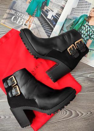 Ботильоны ботинки сапоги черные zara trafaluc 37 высокий устойчивый каблук тракторная подошва ремешки