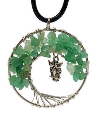 """🦉🌳 кулон-амулет """"сова на дереве жизни """" натуральный камень зеленый авантюрин"""