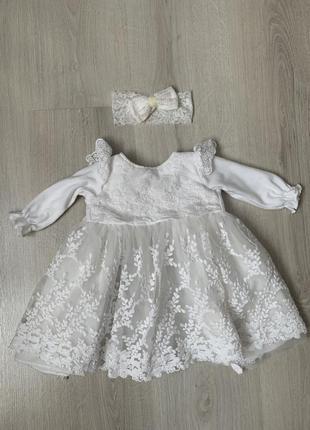 Кристильное платье + повязка в подарок