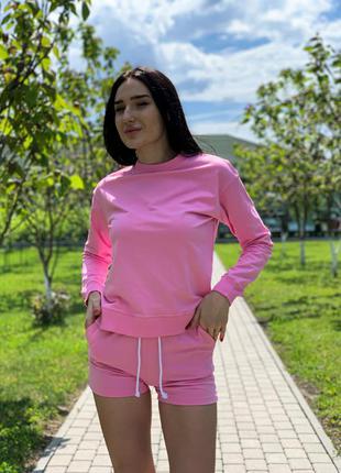 Костюм baysho свитшот базовый с шортами двунитка розовый (bd1102-350/bd0502-350)
