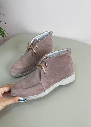 Замшеві лофери демі зимові ботинки замшевые лоферы