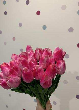 Квіти тюльпани штучні рожеві цветы тюльпаны