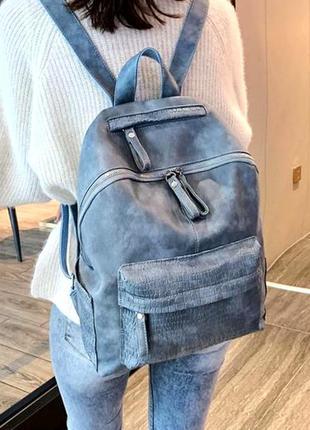 Женский базовый городской рюкзак экокожа aliri-00155 голубой