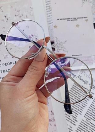 Очки круглые серебристые для пк защита от компьютера и телефона антибликовые имиджевые без диоптрий тишейды лепса
