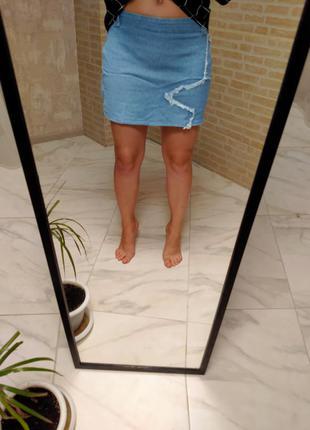 Юбка, юбка мини, блуза, джинсовая юбка, блузка в принт, блузка в клетку