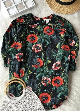 Красивенная хлопковая блуза с пышными рукавами с маками h&m 🌹🌿