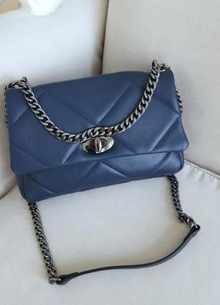 Женская сумка на цепочке через плечо натуральная кожа италия кроссбоди genuine leather синяя черная vera pelle