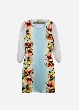 Женское цветное короткое облегающее платье с белыми шифоновыми рукавами