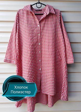 Платье рубашка с ярусной спиной и карманами