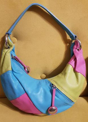 Кожаная сумка багет, сумка круасан, сумка банан, кожаная сумка tosca blu