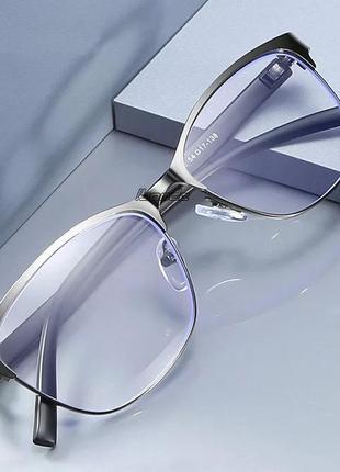 Очки для чтения в металлической оправе, серые, +2