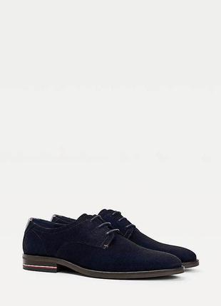 Мужские замшевые синие туфли tommy hilfiger