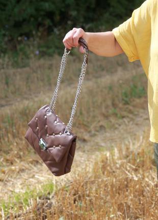 Женская сумка коричневая жіноча сумка кроссбоді