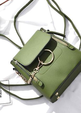 Качественный женский рюкзак сумка компактный молодежный рюкзак aliri-00205 зеленый