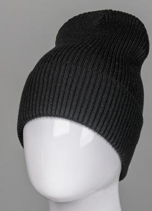 Демосезон!⭐️акция! шапка резинка с отворотом fero (201030), черный