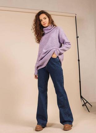 Качественный вязаный свободный свитер объемный с высоким горлом удлиненный хс-л