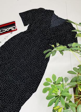 Платье макси батал классика летнее вискоза горох пуговицы резинка короткий рукав натуральное  new look