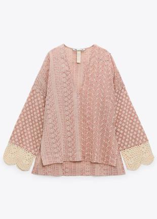 Блуза zara с ажурной вышивкой рубашка лимитированная коллекция